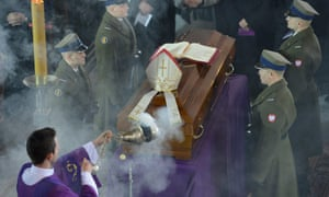 The coffin of Primate senior of Poland, cardinal Jozef Glemp during his funeral mass at the St. John the Baptist Archcathedral in Warsaw, this morning. Cardinal Glemp died at the age 83 on 23 January.