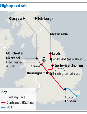 Map - high spreed rail link route