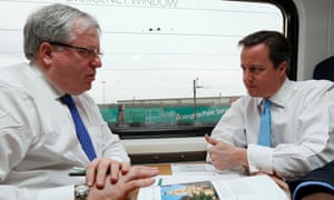 David Cameron and Patrick McLoughlin on the train to Leeds.