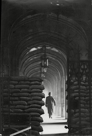 Floods 1953: Sandbags Piled High At An Entrance To The Houses Of Parliament London
