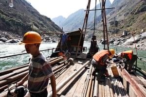 Yunnan Nujiang river:  dam on the Nu River