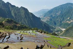 Yunnan Nujiang river: Terraced paddy fields at Fugong in the Nujiang River valley