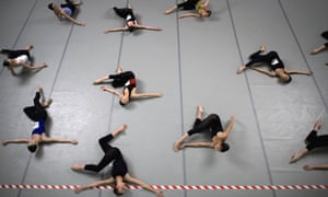 Young dancers practice during the contemporary classes at the 41th International ballet competition Prix de Lausanne in Lausanne, Switzerland. The Prix de Lausanne is an international competition open to young dancers aged 15 to 18 who are not yet professionals.