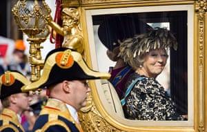 Queen Beatrix: Queen Beatrix looks out from her Golden Carriage