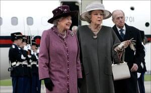 Queen Beatrix: Queen Elizabeth II is greeted by Queen Beatrix