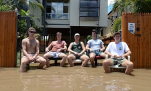 Sink or swim? No, these students just wanted a little sit down as floodwater surrounded their rented property in Torwood street, in the inner city suburb of Rosalie in Brisbane, Australia. The flooding happened when the Brisbane river peaked following rains brought by Cyclone Oswald.