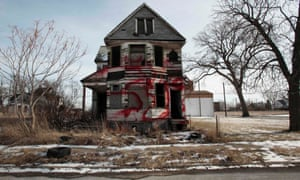 A vacant derelict property sits alone in an east side neighborhood once full of homes in Detroit, Michigan. The story of the decline of Detroit has become a symbol of the US economic situation.