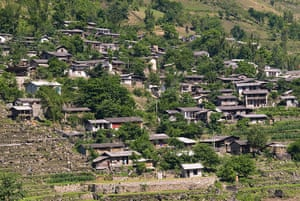 Nujiang river: A Lisu ethnic village at Fugong in the Nujiang River valley