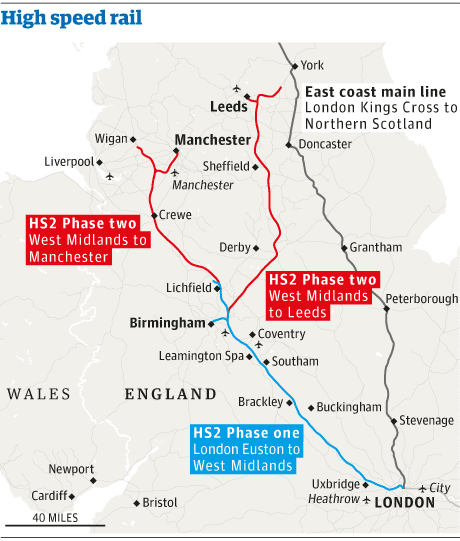 Map - HS2 routes 1 and 2