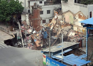 Sinkhole gallery: A sinkhole with buildings collapsed inside