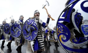 The annual Up Helly Aa festival has begun in Lerwick in the Shetland Islands with people dressed as Vikings marching through the town. The festival will culminate this evening with the dramatic burning of a replica viking longboat after a spectacular torchlit procession.