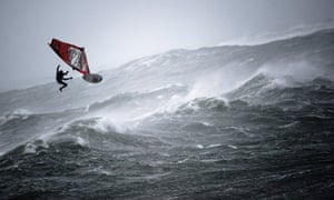 It's the perfect storm for this windsurfer taking part in the Red Bull Storm Chase at Brandon Bay in Ireland. Ten of the world's top windsurfers from eight countries completed a demanding mission today surfing in recorded storm-force gusts of up to 74 knots (137kmh) and fierce 20 foot waves.