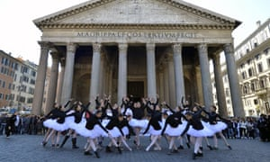 Students of the national dance academy perform in protest in front of the Pantheon in Rome, Italy. The students are demonstrating against budgets cuts and asking the education ministry to carry out repairs to classrooms and on the stage of the academy.
