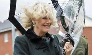 Gosh and crikey, one's hair is a little out place! Camilla, Duchess of Cornwall is caught in the wind on a visit to meet soldiers from the 4th Battalion, The Rifles at Ward Barracks in Bulford, Wiltshire.