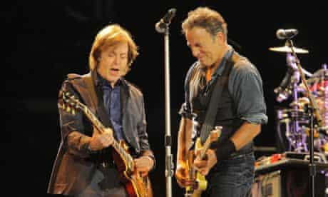Sir Paul McCartney and Bruce Springsteen in Hyde Park, London, 2012