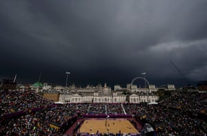 Wet UK weather 2012 : July: Rain clouds are seen over Horses Guards Parade