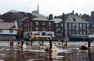 Wet UK weather 2012 : July: Floodwater covers the streets in the centre of York as River Ouse