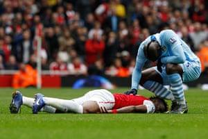 bad boy balotelli: Manchester City's Balotelli speaks to Arsenal's Song