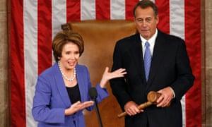 Democratic leader Nancy Pelosi introduces Speaker of the House John Boehner