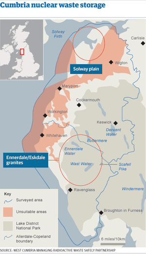 Map - Cumbria nuclear waste storage survey