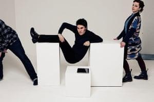 Noel Fielding - Glam: Noel Fielding lying on white blocks