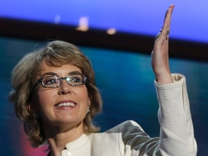 Former Arizona Rep. Gabrielle Giffords blows a kiss after reciting the Pledge of Allegiance at the Democratic National Convention in Charlotte, N.C., Sept. 12 2012.