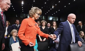 Mark Kelly and Gabrielle Giffords arrive for a Senate judiciary committee hearing on gun control.