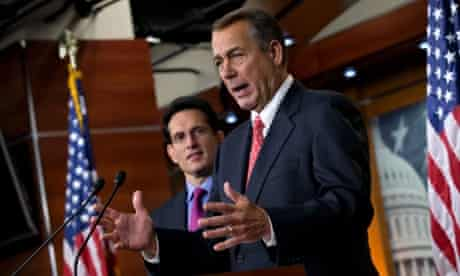 Speaker of the House John Boehner, R-Ohio, joined by House Majority Leader Eric Cantor, R-Va., speaks to reporters about the fiscal cliff negotiations at the Capitol in Washington.