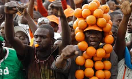Some fruity supporters of the Orange Democratic Movement cheer as its leader Raila Odinga delivers a speech during a rally held after he was cleared to run for presidency in the forthcoming elections in Nairobi, Kenya.