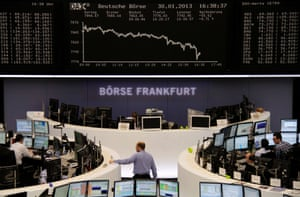 The DAX board is pictured at the Frankfurt stock exchange January 30, 2013.