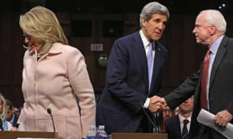 John Kerry with John McCain and Hillary Clinton at the confirmation hearing, 2013