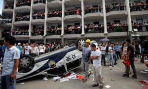 Police car in Qidong riots