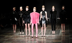 Parade in pink: Models present creation by Danish fashion house Freya Dalsjoe during the Copenhagen Fashion Week.
