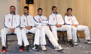 Waiting for service: Serbia's team captian Bogdan Obradovic and players Novak Djokovic, Viktor Troicki, Nenad Zimonjic, Boris Pashanki attend the draw for the Davis Cup tennis games between Belgium and Serbia in Charleroi