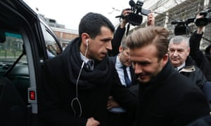 Soccer player David Beckham is seen at the Pitie-Salpetriere  hospital in Paris for his medical examination. David Beckham is poised to join the Ligue 1 club Paris St Germain, it's been reported.