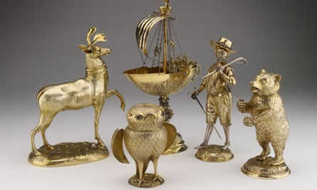 Some of the pieces from the collection of gold and silver antiques donated to the Ashmolean museum