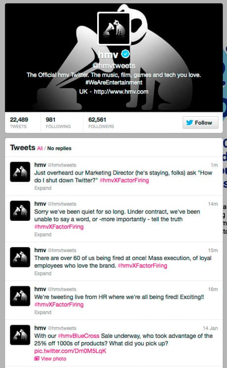 HMV workers take over official Twitter feed to vent fury over