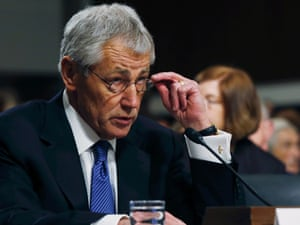 Former senator Chuck Hagel testifies before the Senate armed services committee in a confirmation hearing for secretary of defense.