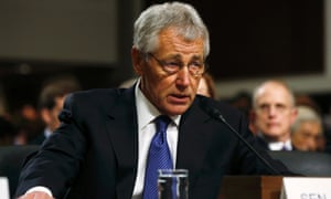 Former US senator Chuck Hagel speaks during a Senate armed services committee hearing on his nomination to be US secretary of defense.