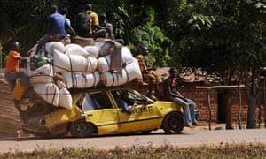 People flee Damara, town between rebel forces and Bangui, the capital of the Central African Republic