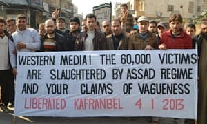 Syrian protest banner from Kafranbel on 4 January 2013