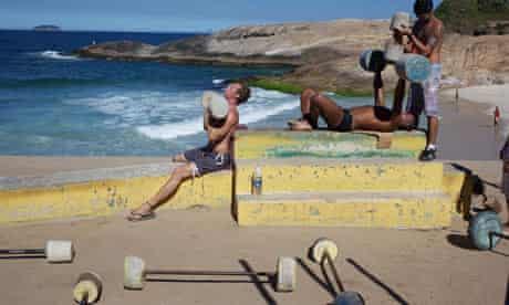 Outdoor gym on copacabana beach, Rio de Janeiro, Brazil