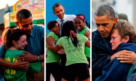Barack Obama hugs composite