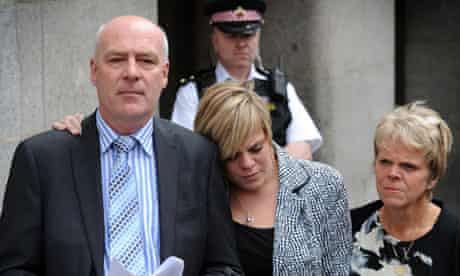 Bob and Sally Dowler, parents of murdered schoolgirl Milly Dowler, and her sister Gemma (centre)