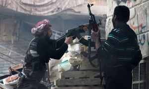 Syrian rebels fire on government positions in Aleppo.