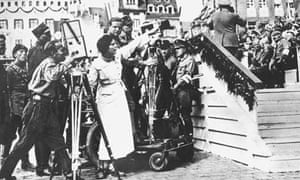 Leni Riefenstahl at Nuremberg, 1934, directing Triumph of the Will