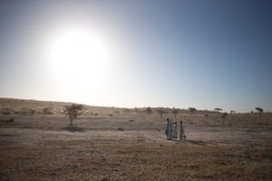 Chad Stunted Nation:  young men walk in the wadi alongside Louri village