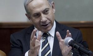 Binyamin Netanyahu at a cabinet meeting last month