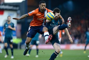luton v wolves: Andre Grey of Luton and Kevin Foley of Wolves