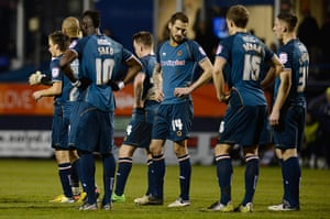 luton v wolves: Dejected Wolves players